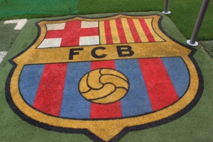 FC Barcelona Logo on the Pitch