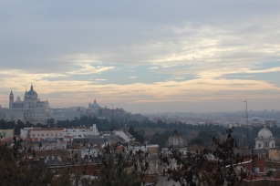 View of the Cathedral, the Royal Palace and Madrid